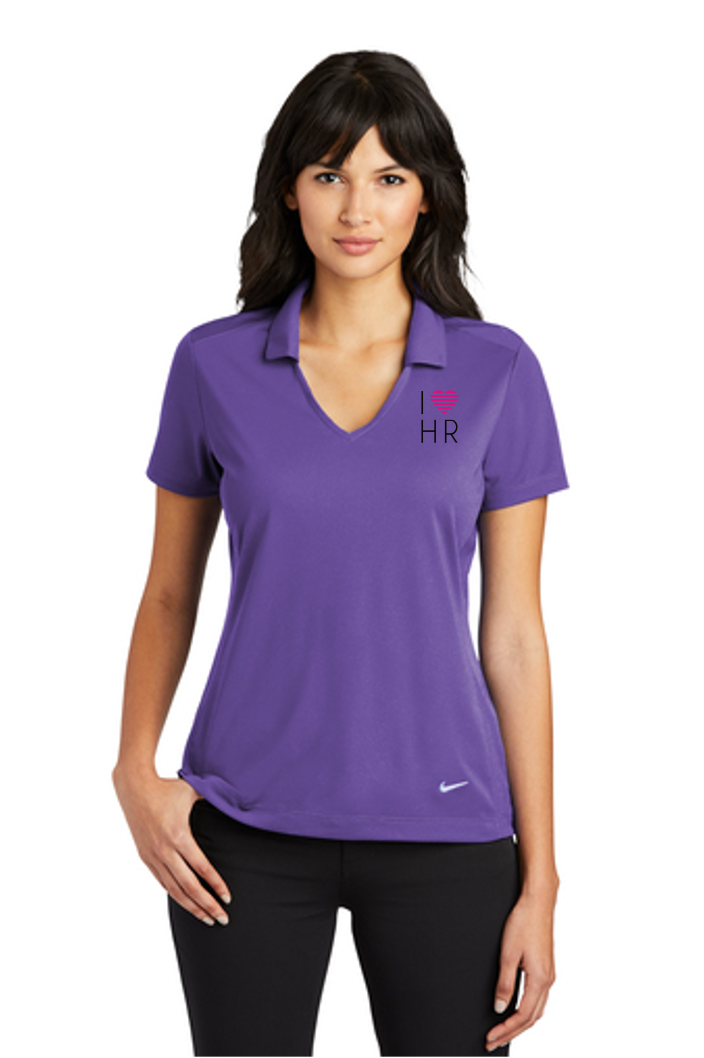 I Love HR - Purple Mesh Polo - Front View